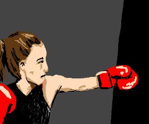 kickboxer practicing