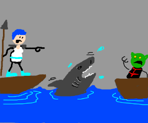 Girl sics a shark on a boat other than hers.