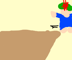 burning lemming runs off cliff