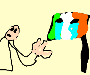 Bald man gives crying flag the hand