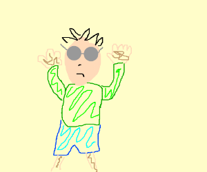 Man with gray glasses, green shirt, blue pants