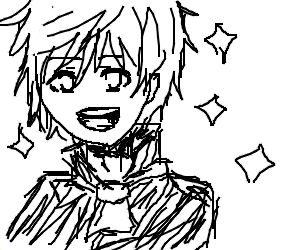 kawaii anime boy glistening