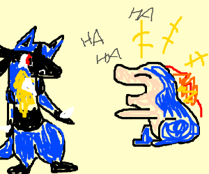 cyndaquill laughing at lucario