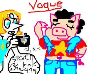 Piggy Boy (Steven Universe?) models for Vogue
