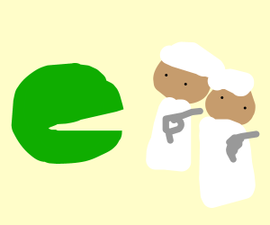 Green Pac-Man about to eat Muslim terrorist