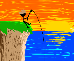 Guy fishing during beaiful sun set on cliff