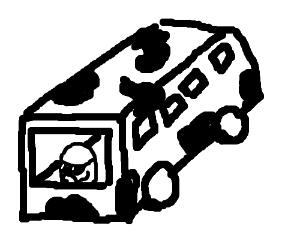 a potato driving a long black and white bus