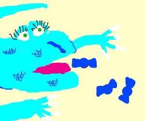 blue lizerdous monster eats blue candy