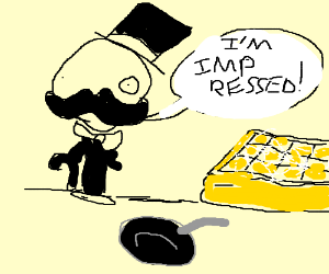 The fancy man is impressed with waffles