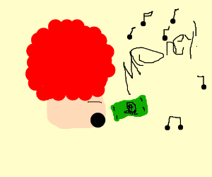 Red head afro man sings about money.