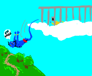 Genie escapes from sky prison; falls to earth