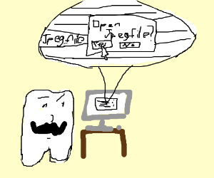 A mustached tooth tries to open a .jpg file.