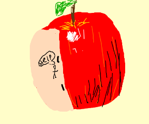 the apple has teh human in it