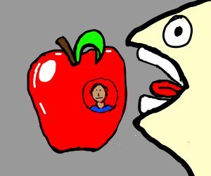 Worm eating a human infested apple