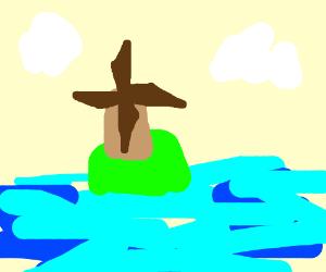 windmill on an island