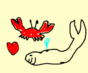 Crab and whale in a romantic relationship