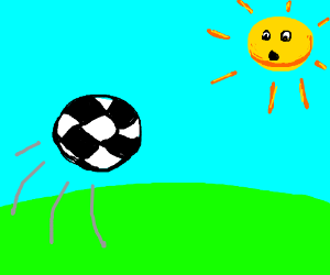Soccer ball hurtling towards the sun