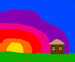 A house set against a sunrise.