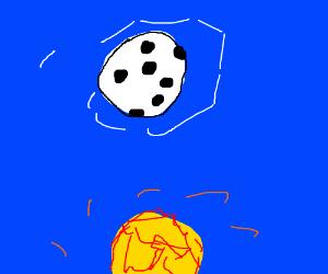 As the sun sinks, the moon rises