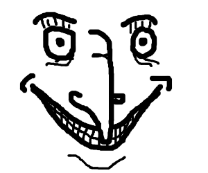 weird smiley face with a long nose drawing by chief keve drawception