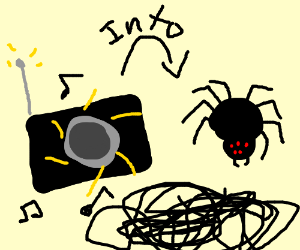 radio morphing into...a spider? black spageti?