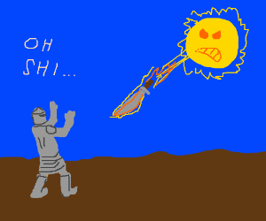 Sun in sky shoots flaming machete at a knight.