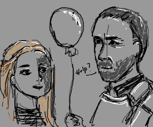 Stannis asks Shireen's help holding a balloon.