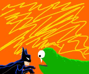 tiny batman creeps up on an inchworm