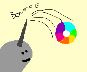 narwhal playing with a beach ball