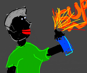 black person spray painting in the dark