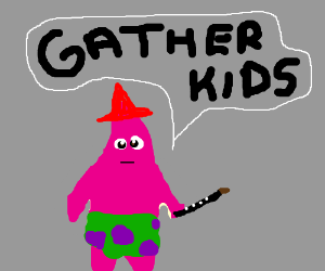 red wizard entertains children with flute