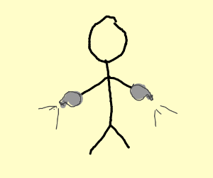 Stickfigure has whistles for hands