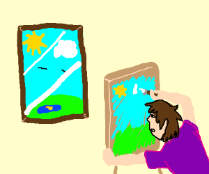 Painting next to a window.