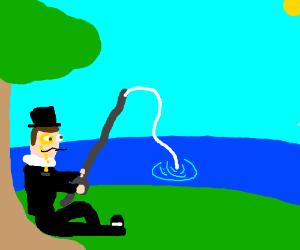 Fancy class guy fishing
