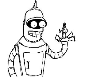 Bender holding little bender