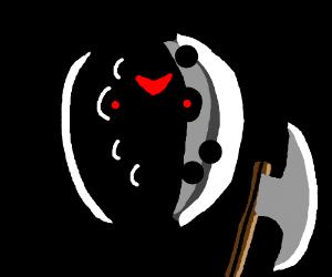 Creepy mask and axe