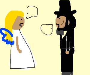 Angel talking to Abraham Lincoln.