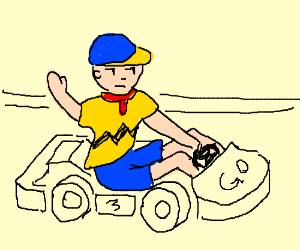 Charlie Brown in go-kart cosplays Caillou