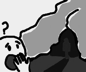 Confused man looks at a shadow man in cave