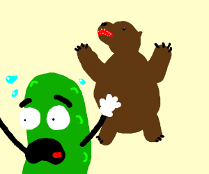 A pickle meets a brown bear