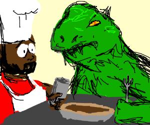 Chef Godzilla baking a pie