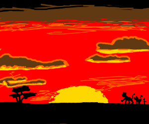 Really Nice Drawing Of The Lion King At Sunset Drawception