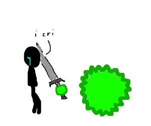 Man cries informally when a big virus attacks!