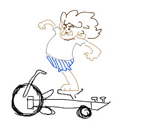 1-legged man rides a musical bike