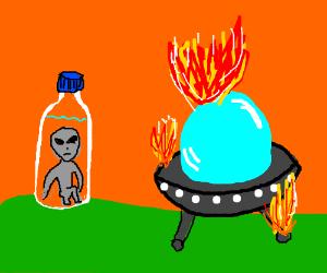 alien hides in bottle of water to escape fire