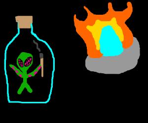 alien in a bottle burns his spaceship