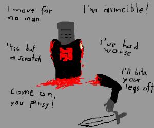 Black Knight limbless torso screaming threats