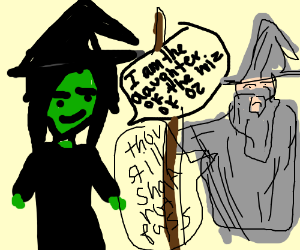 Green person confuses old wizard