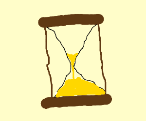 Time (in an hourglass) is running out.