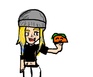 blonde girl eating a taco